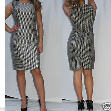 NEXT TAILORED BLACK & IVORY GREY SPOTTED TEXTURED BODYCON WIGGLE PENCIL DRESS