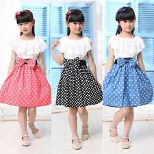 Baby Kid Girls One Piece Tutu Dress Princess chiffon dot Ruffled Bow Skirts 2-7Y