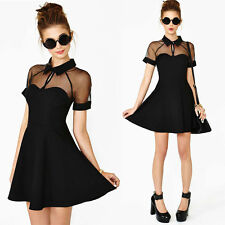 Women See Through Sheer Mesh Collared Circle Flared Skater Club Party Dress TH