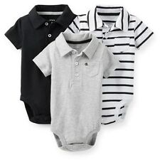 New Carter's 3 Pack Black White Striped Gray Polo Bodysuits 9 12 18 24