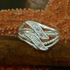 STERLING SILVER LEAFS ROPES RING WITH STONES SOLID.925 NEW JEWELERY SIZE J - U