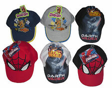 BOYS BASEBALL HAT CAP SPIDERMAN SCOOBY DOO DARTH VADER 2-8 YEARS