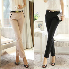 Womens Lady Career Slim Fitted Skinny OL Pencil Pants Business Office Trousers