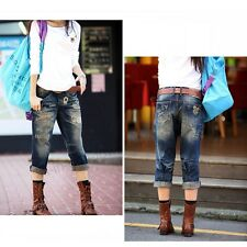 Fashion Plus Size New Summer Big Women Fat Girl Jeans Cropped