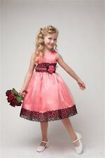 Two Tone Flower Girls Dress Easter Party Pageant Fancy black lace Flower Dresses