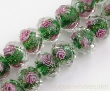 New 10pcs 10mm Flower Faceted Lampwork Glass Rondelle Charms Loose Spacer Beads