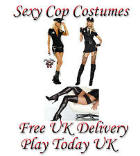 SEXY LADIES POLICE WOMAN COP FANCY DRESS COSTUME COMPLETE OUTFIT SIZE 10 - 14