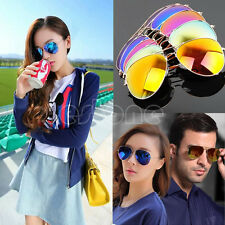 Unisex Women Men Vintage Retro Aviator Mirror Lens Sunglasses Glasses Fashion