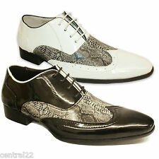 Men's Designer Brogue Shoes Jazz Funky Capone Snake Skin Party Laces Pointed