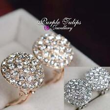 18ct White/Rose Gold GP sparkling Swarovski Crystals Ball Clip Earrings