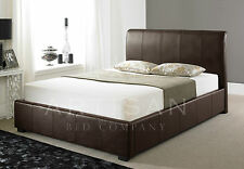 Leather Ottoman 6ft Super King in Brown with Mattress FREE DELIVERY