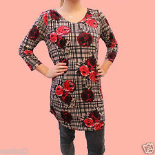 NEXT BLACK CHECK CREAM RED ROSE FLORAL PRINT LONG LINE Top TUNIC Dress