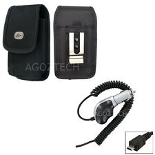 Heavy Duty Car Charger + Vertical Nylon Canvas Clip Case Pouch for Cell Phones