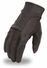 Men's Leather Gel Palm Motorcycle Glove Flex Knuckle - Wrist Strap FI142GEL