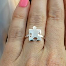 Puzzle Piece Ring - 925 Sterling Silver - Autism Awareness Jigsaw NEW