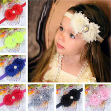 Baby Girls Chiffon Flowers Headband Diamond Head Bow Soft Elastic Hair Band