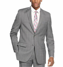 Alfani RED Slim Fit Gray Plaid Stretch Wool Blend Suit With Flat Front Pants