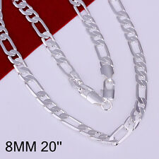 """Wholesale 925Sterling Silver 8MM Flat 3 Space 1 Men Chain Necklace 18""""-24"""" NLB18"""