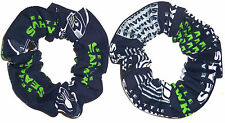 Seattle Seahawks Fabric Hair Scrunchies by Sherry NFL Tie Ponytail Holder New