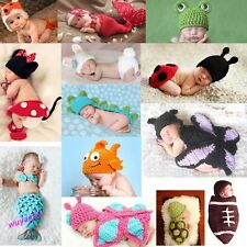 Newborn Baby Infant  Animal Knit Costume Photography Prop Crochet Beanie Hat set