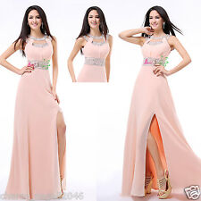 Peach Long Women's Formal Ball Cocktail Prom Dress Party Dresses Evening Gowns