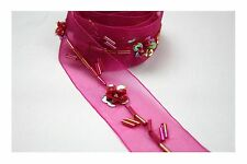 "Unotrim 1"" Organza Ribbon Trim with Cylinder Glass Bugle Beads Sequin in Red"