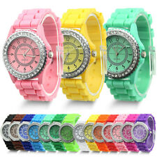 Geneva Silicone Rubber Ladies Jelly Watch Fashion Bling Crystal Rhinestone Bezel