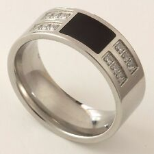 NEW Silver Stainless Steel Mens Womens Wedding Signet Onyx Ring Band Sizes T & U