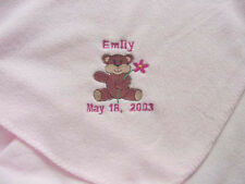 Personalized Girls Baby Newborn Infant Fleece Blanket Pink Coming Home