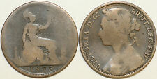 1860 to 1880 Victoria Bun-head Pennies Most Dates Available Worn Condition