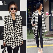 New Fashion Women Houndstooth Print Open Peplum Casual Jacket Coat Cardigan M L