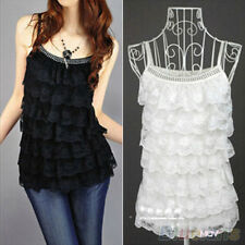 Attractive Stunning Lace Summer Loose Sleeveless Vest Shirt Vogue Tops Blouse