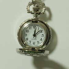Silver victorian style mini pocket watch mens womens nurse fob ladies chain NEW