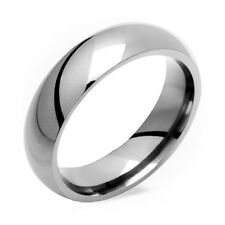 Classic Titanium Ring Comfort Fit Polished 6mm Wide Wedding Band Size 4 to 14