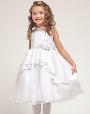 Flower Girl Dress Holiday Party Wedding Elegant Satin Prom Pageant Lace - White