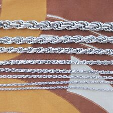 Solid Sterling Silver Rope Chain (variety of width and length available)