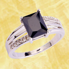 Generous Rare Find Black Spinel Gemstones Silver Ring Size 6-12 Free Ship