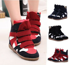 Fashion Womens Velcro Strap High-Top Sneakers Shoes Lady Ankle Wedge Boot 3Color