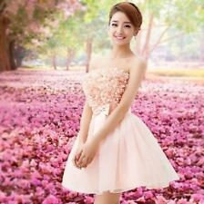 For Wedding Lace Mini Women Bridesmaid Dress Cocktail Party Prom Ball Gown Pink