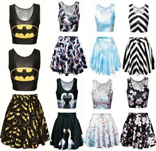 Batman/Sakura Digital Print Reversible Crop Top+Skirt 2 pieces Dance Wear@MD8133