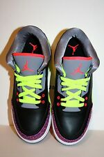 AUTHENTIC Air Jordan 3 III Retro GS Black Atomic Red Cement Grey SIZE 4 TO 7