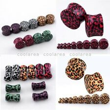 Pair Solid Saddle Acrylic Wild Leopard Double Flared Ear Plugs Kit Earlet 2-16mm