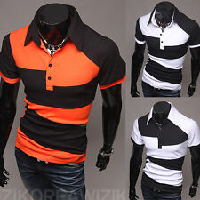 Fashion Men's Slim Fit Casual Polo Shirt T-Shirt Short Sleeve Summer Tees Tops