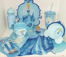Disney Store Cinderella Plate Cup Tumbler Water Bottle Silverware Spoon Fork New
