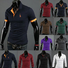 Mens Fitted V-Neck Casual Shirt T-Shirts Tops Short/Long Sleeve Classic Polo Tee