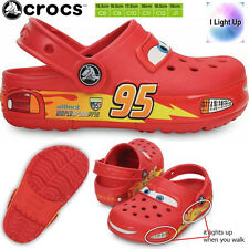 Crocs Cars McQueen Light Up Clog Boys Wide Slip On Slipper Sandals Shoes Junior1