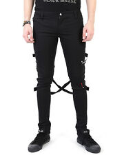 Tripp NYC Black Skinny Jeans Bondage Pants Mens Goth Punk Trousers
