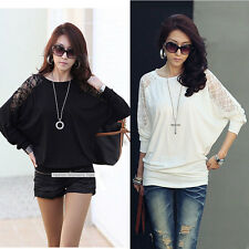 Women's Lace Loose Batwing Top Dolman Ladies Long Sleeve T-Shirt Blouse Tee Sexy