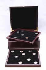 Elegant Four Tray Wood Display Box for Model A, T, H, I Capsules, Mahogany Color