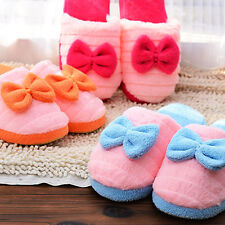 Cute Bow Velvet Women's Girl's Anti slip Shape Slippers Indoor House Soft Warm